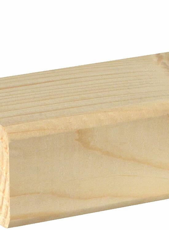 Rahmenholz gerundet 34 x 53 mm Fichte/Kiefer astig A roh, 240 cm
