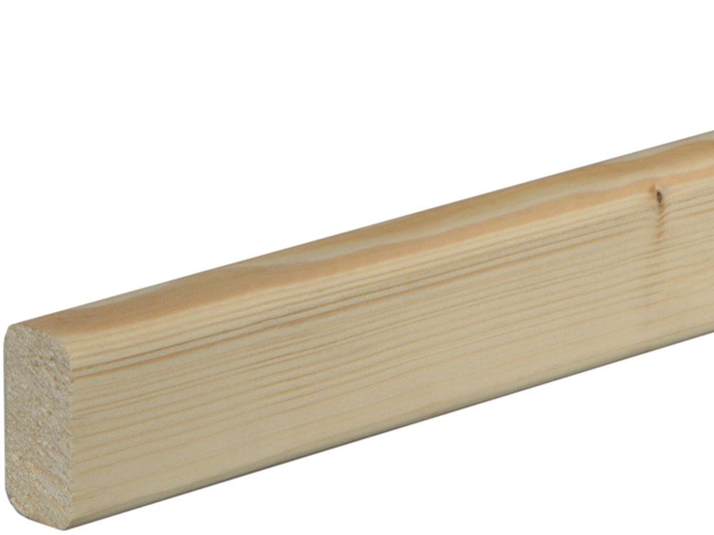 Rahmenholz gerundet 19 x 38 mm Fichte/Kiefer astig A roh, 240 cm