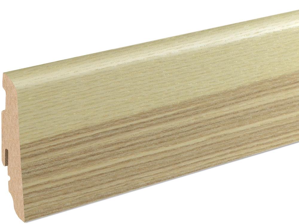 Sockelleiste SU060L MD furniert 19 x 58 mm Esche Olive FLES080 lackiert, 240 cm