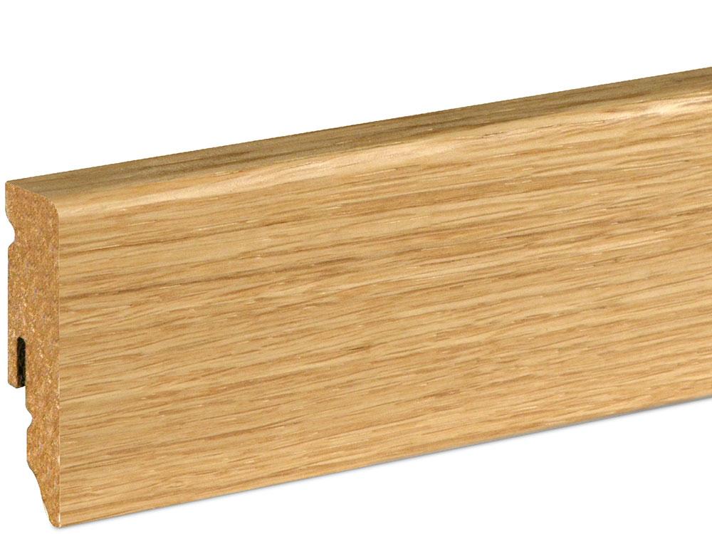 Sockelleiste SU062L MD furniert 15 x 58 mm Eiche FREI071 lackiert, 240 cm