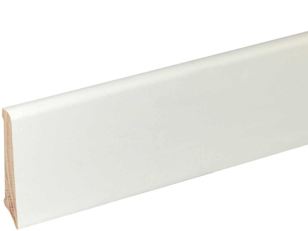 Sockelleiste S0601 Massiv GG 15-20 12 x 60 mm MH Buche weiß RAL9010 lackiert, 240 cm