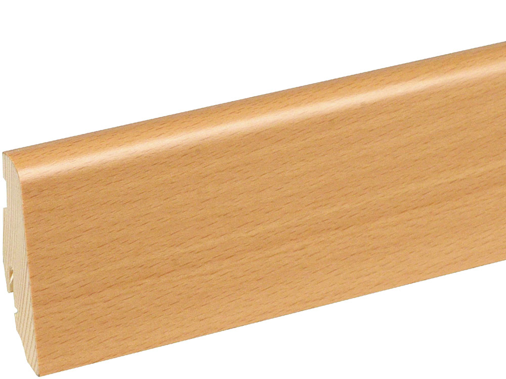 Sockelleiste SU060L FA furniert 19 x 58 mm Buche gedämpft LHD FLBU084 lackiert, 250 cm
