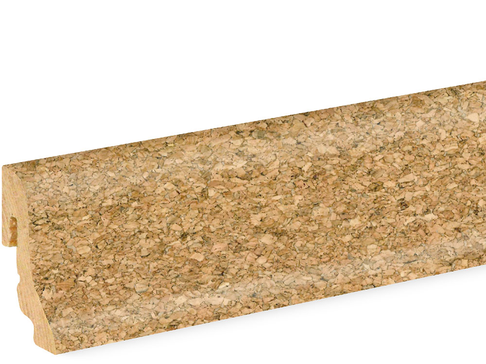 Sockelleiste SU018L MD furniert 18,5 x 38,5 mm Kork fein 1146 lackiert FRKO001, 240 cm