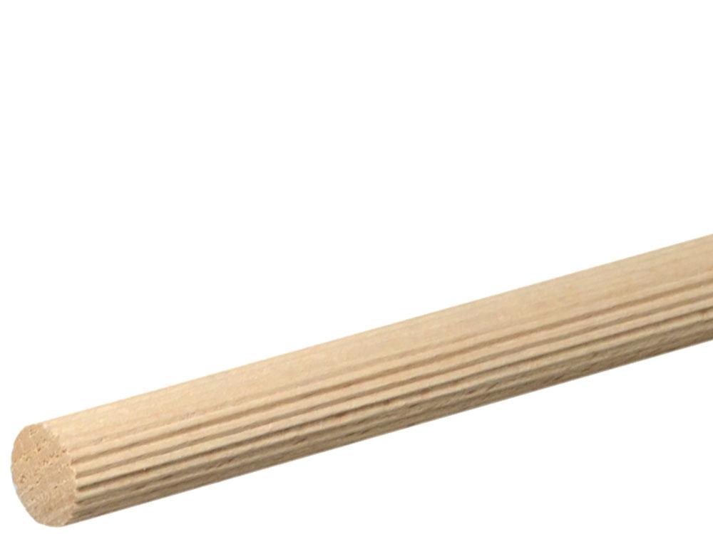 Rundstab gerillt 14 mm Buche roh, 100 cm