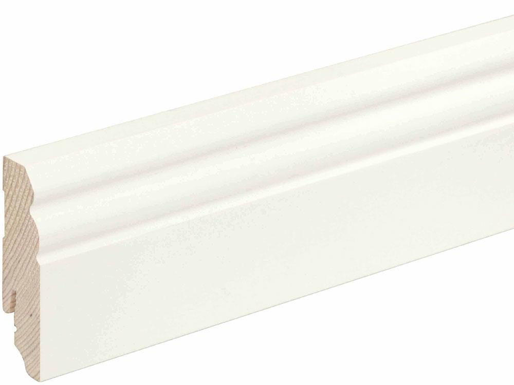 Sockelleiste profiliert L0073L, RAL9010 18 x 70 mm Fichte/Kiefer weiß lackiert, 240 cm