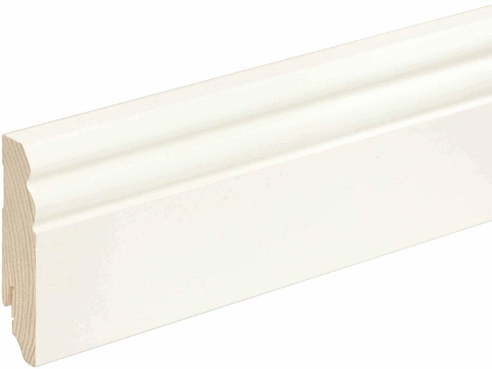 Sockelleiste profiliert L0133L, RAL9010 18 x 80 mm Fichte/Kiefer weiß lackiert, 240 cm