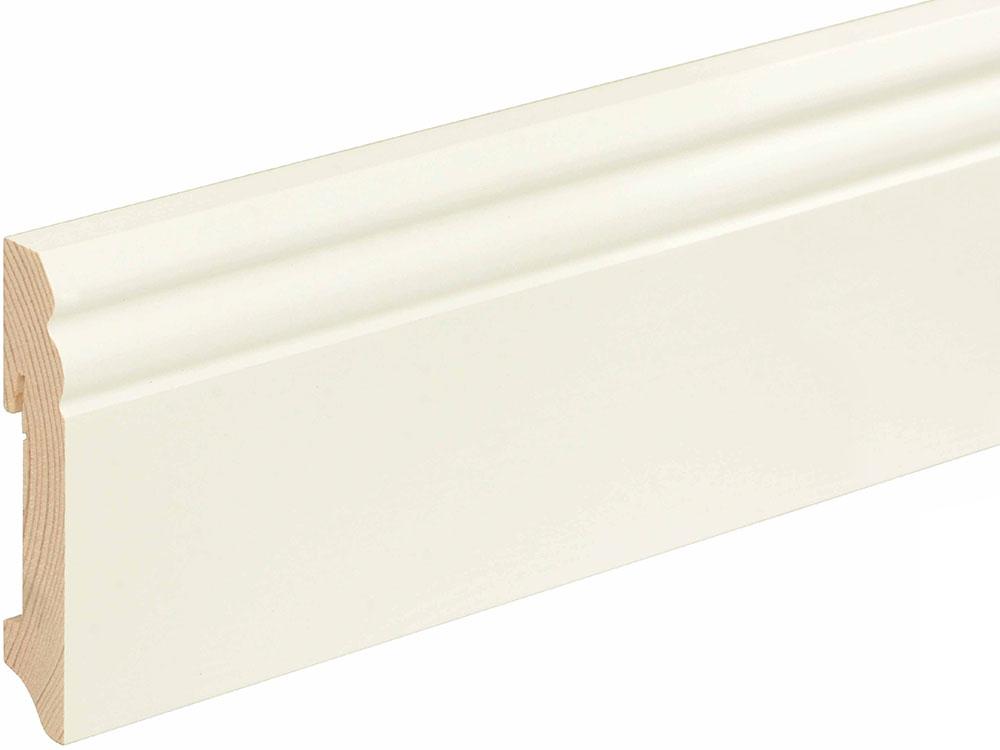 Sockelleiste profiliert L0089L, RAL9010 18 x 96 mm Fichte/Kiefer weiß lackiert, 240 cm