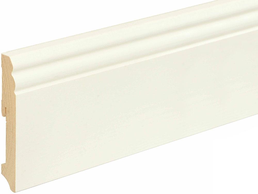 Sockelleiste profiliert L0114L, RAL9010 18 x 115 mm Fichte/Kiefer weiß lackiert, 240 cm