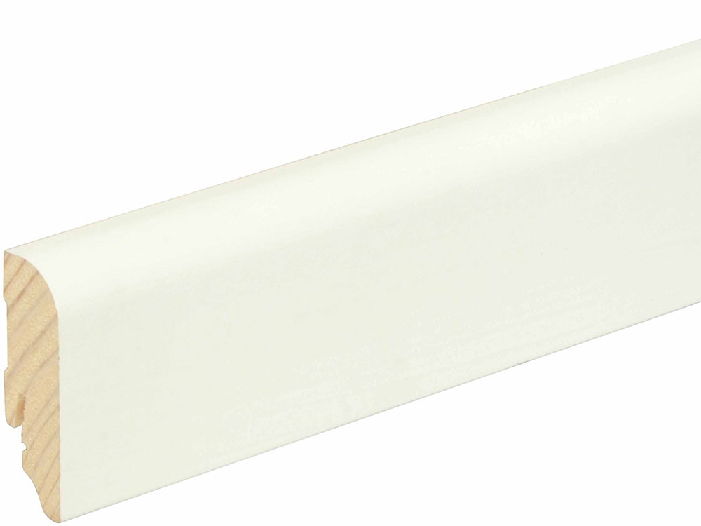 Sockelleiste gerundet L0144L, RAL9010 18 x 58 mm Fichte/Kiefer weiß lackiert, 240 cm