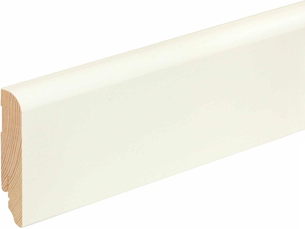 Sockelleiste gerundet L0145L, RAL9010 18 x 80 mm Fichte/Kiefer weiß lackiert, 240 cm