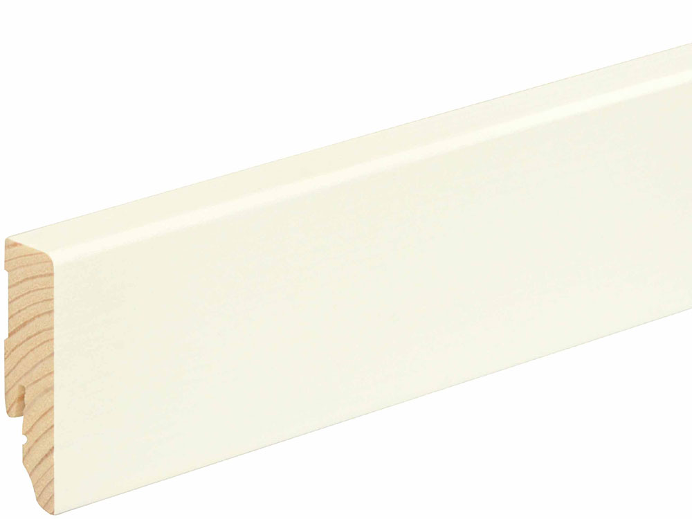 Sockelleiste eckig L0153L, RAL9010 16 x 58 mm Fichte/Kiefer weiß lackiert, 240 cm