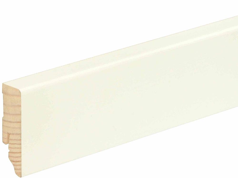 Sockelleiste eckig L0154L, RAL9010 18 x 58 mm Fichte/Kiefer weiß lackiert, 240 cm