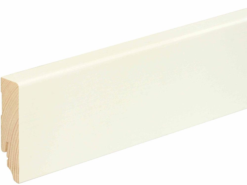 Sockelleiste eckig L0155L, RAL9010 18 x 70 mm Fichte/Kiefer weiß lackiert, 240 cm