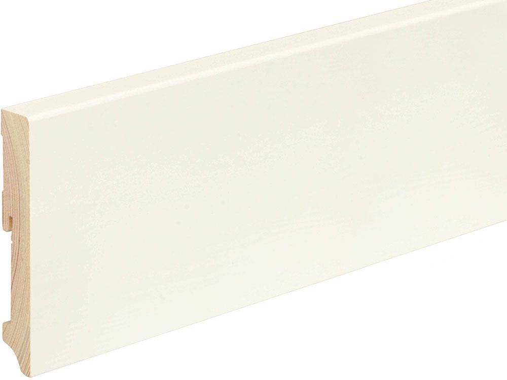 Sockelleiste eckig L0158L, RAL9010 18 x 115 mm Fichte/Kiefer weiß lackiert, 240 cm