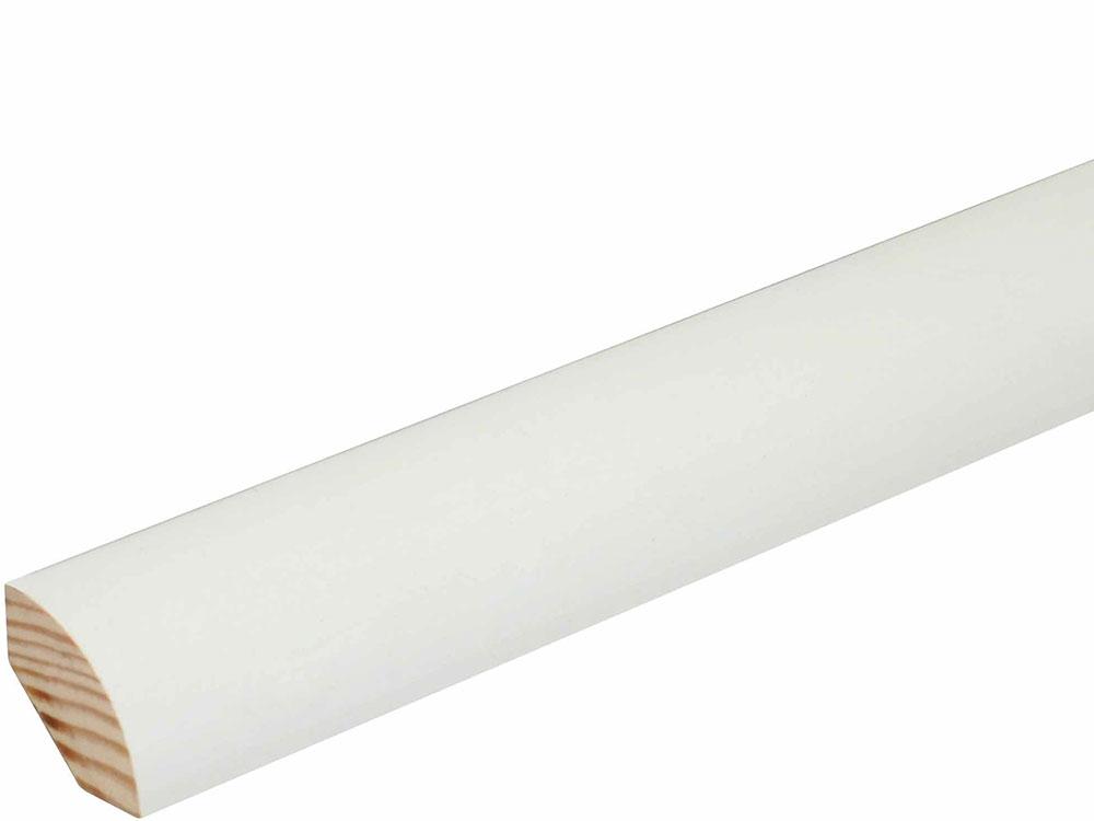 Viertelrundstab L0186, RAL9010 22 x 22 mm Fichte/Kiefer weiß lackiert, 240 cm